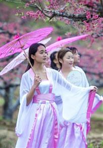 广东古装女大学生嬉戏桃花林