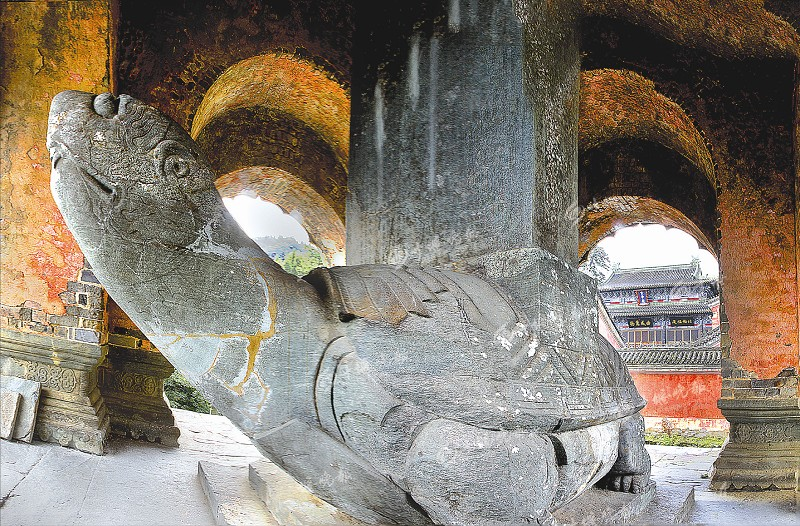 世界罕见的石雕艺术品龟驮碑