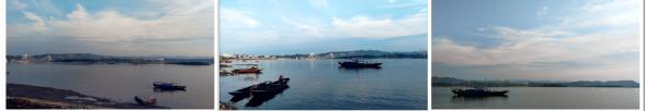暮归的渔船点缀着汉江江面