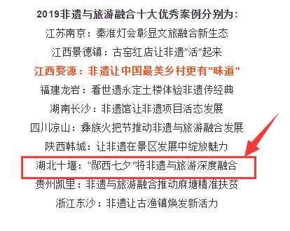 """【资讯】""""郧西七夕""""入选""""2019非遗与旅游融合十大优秀案例"""""""